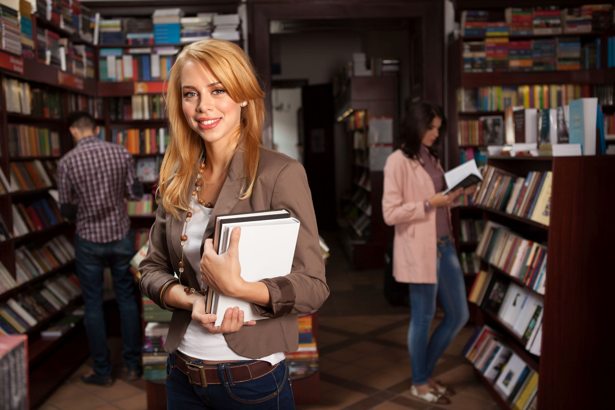 chraming young girl in bookshop